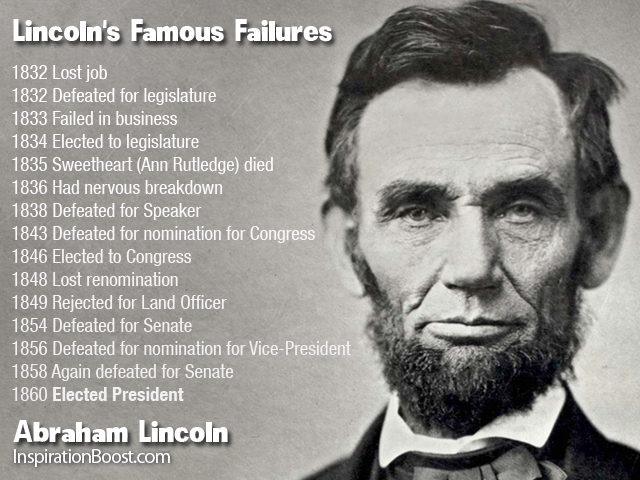 Lincoln's Famous Failures 1832 Lost job 1832 Defeated for ...