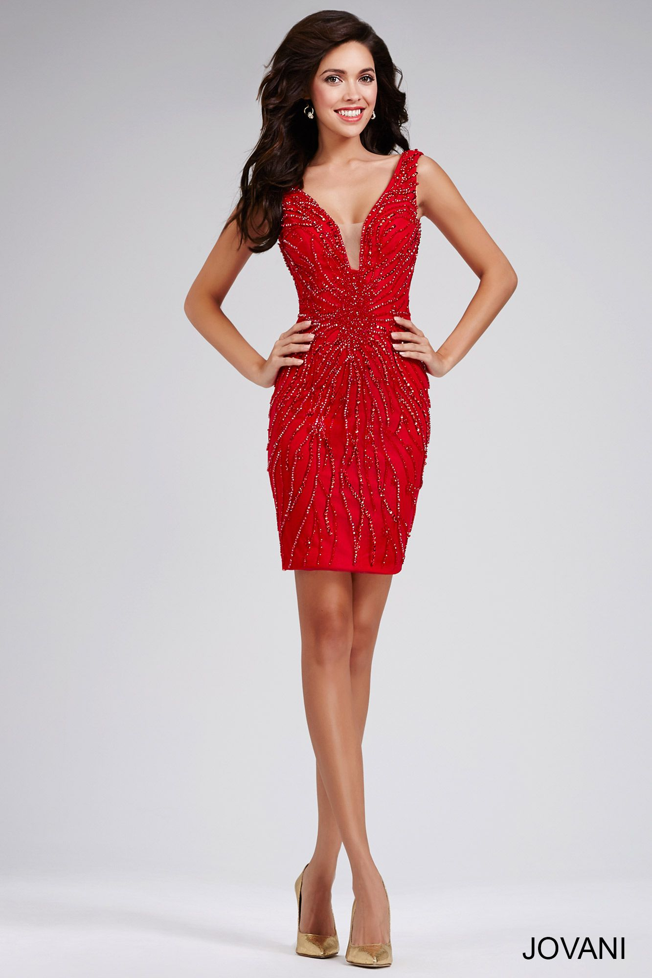 Red plunging neckline Fitted Dress 31750 - Short ~ Cocktail ...
