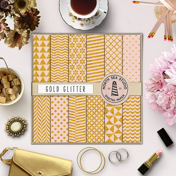 Gold Glitter Digital Paper -  http://etsy.me/29udezt This listing includes 12 gold glitter scrapbook paper with polkadot, chevron, stripes, triangles & quatrefoil patterns.