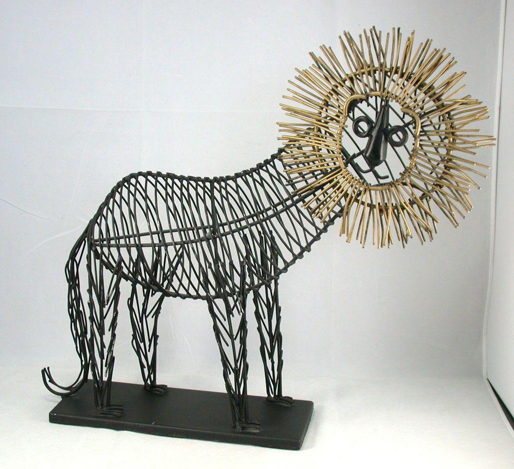 Vintage Mid Century Modern Jere Style Wire Sculpture Pier 1 Lion ...