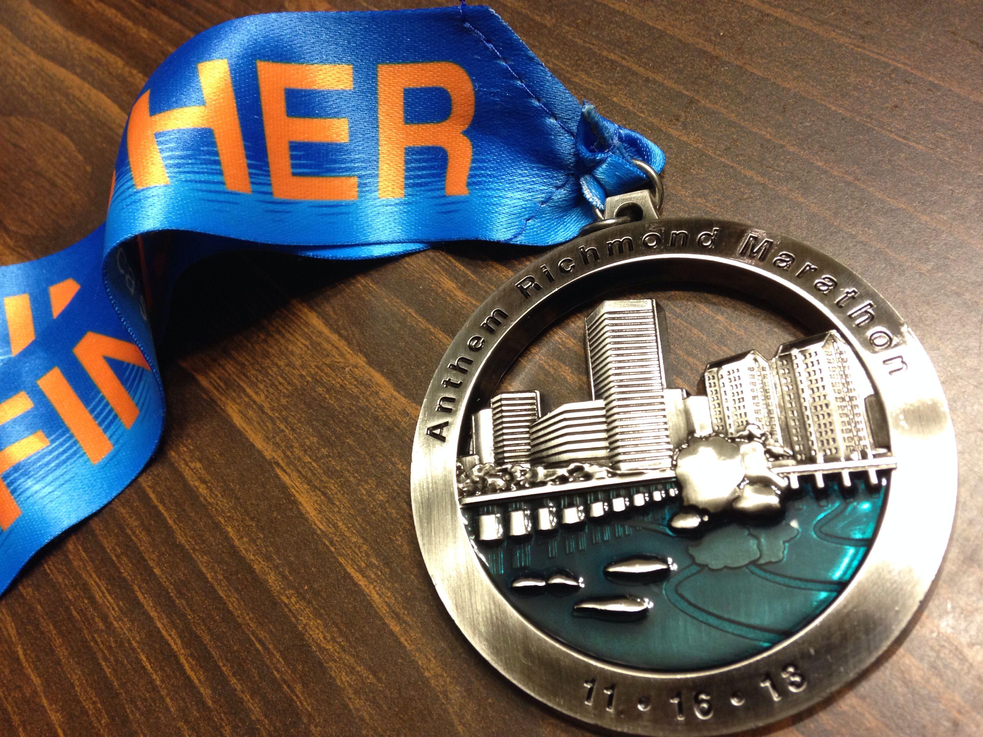 Richmond Marathon medal 2013 Richmond marathon, Marathon
