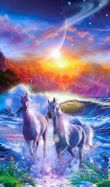 Fantasy #Wallpapers, #Fantasy #Unicorns desktop hd wallpaper, Download in high resolution at http://fabuloustopwallpapers.blogspot.com.br/2015/04/unicornios-no-paraiso.html