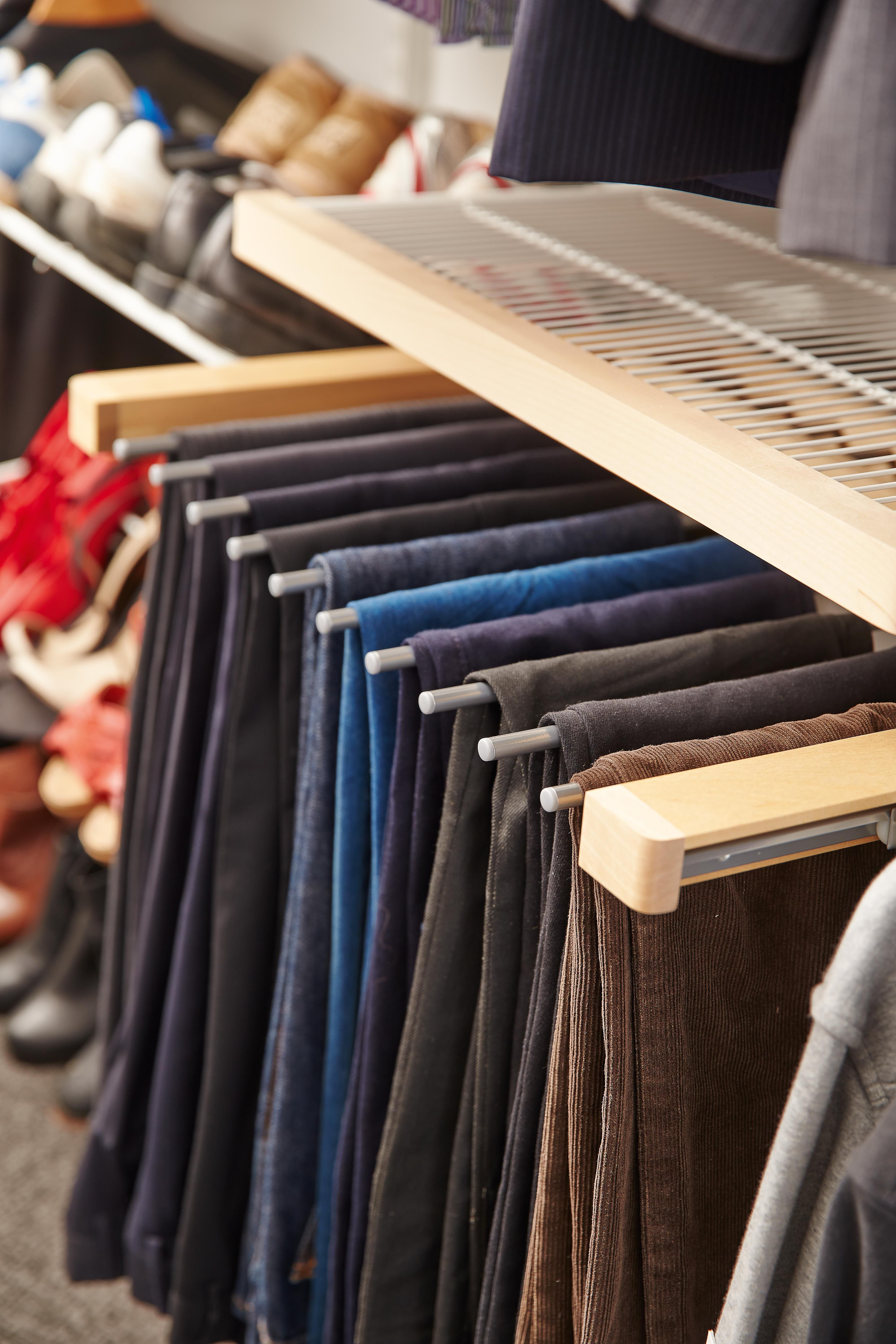 Elfa Birch Gliding Pant Rack. Holds 10 Pairs Of Trousers. Available In  Birch,