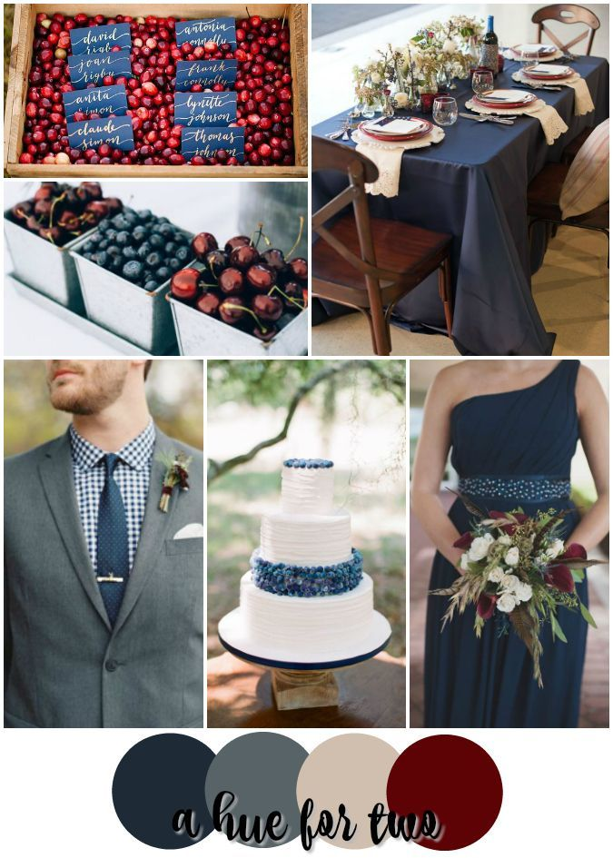 Navy and Cranberry Rustic Summer Wedding Color Scheme - Red White ...