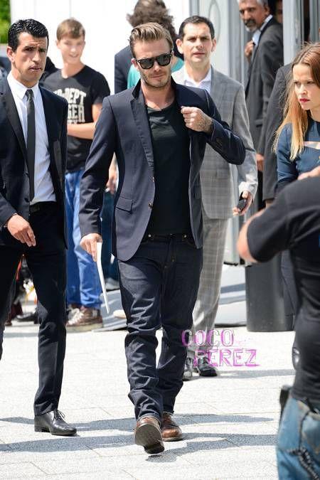 David Beckham Casually Attends The Louis Vuitton Menswear ...  David Beckham C...
