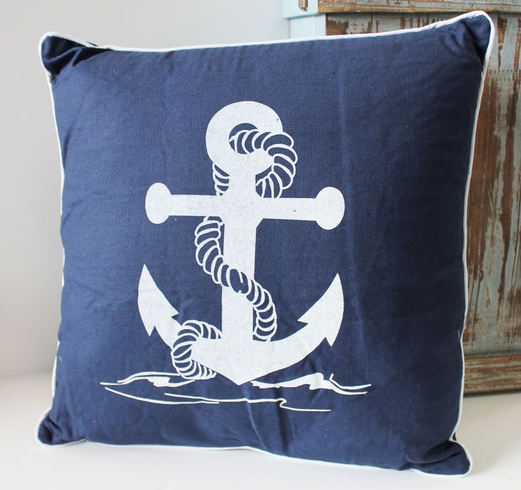 beach themed sofa pillows fabric cleaning solution anchor style 14 quot decorative nautical throw pillow for your