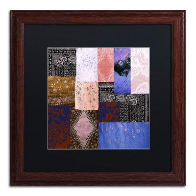 "Trademark Art 'Afrikan Batik IV' Framed Graphic Art Mat Color: Black, Size: 16"" H x 16"" W x 0.5"" D"