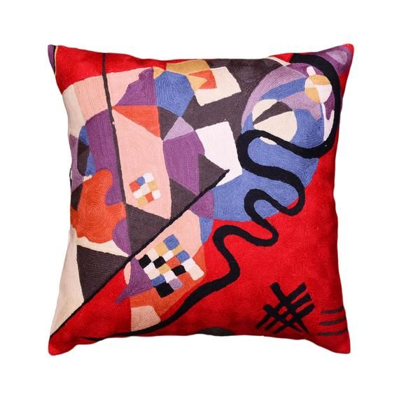 Kandinsky Bright Red Decorative Pillow Cover Swoosh HandEmbroidered Wool 18x18
