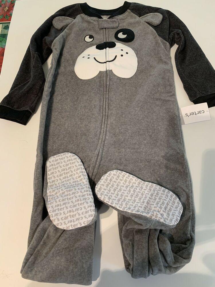 698caa6eb77c carters toddler boy 3t 1pc Fleece Footed Pajamas Grey Bulldog ...