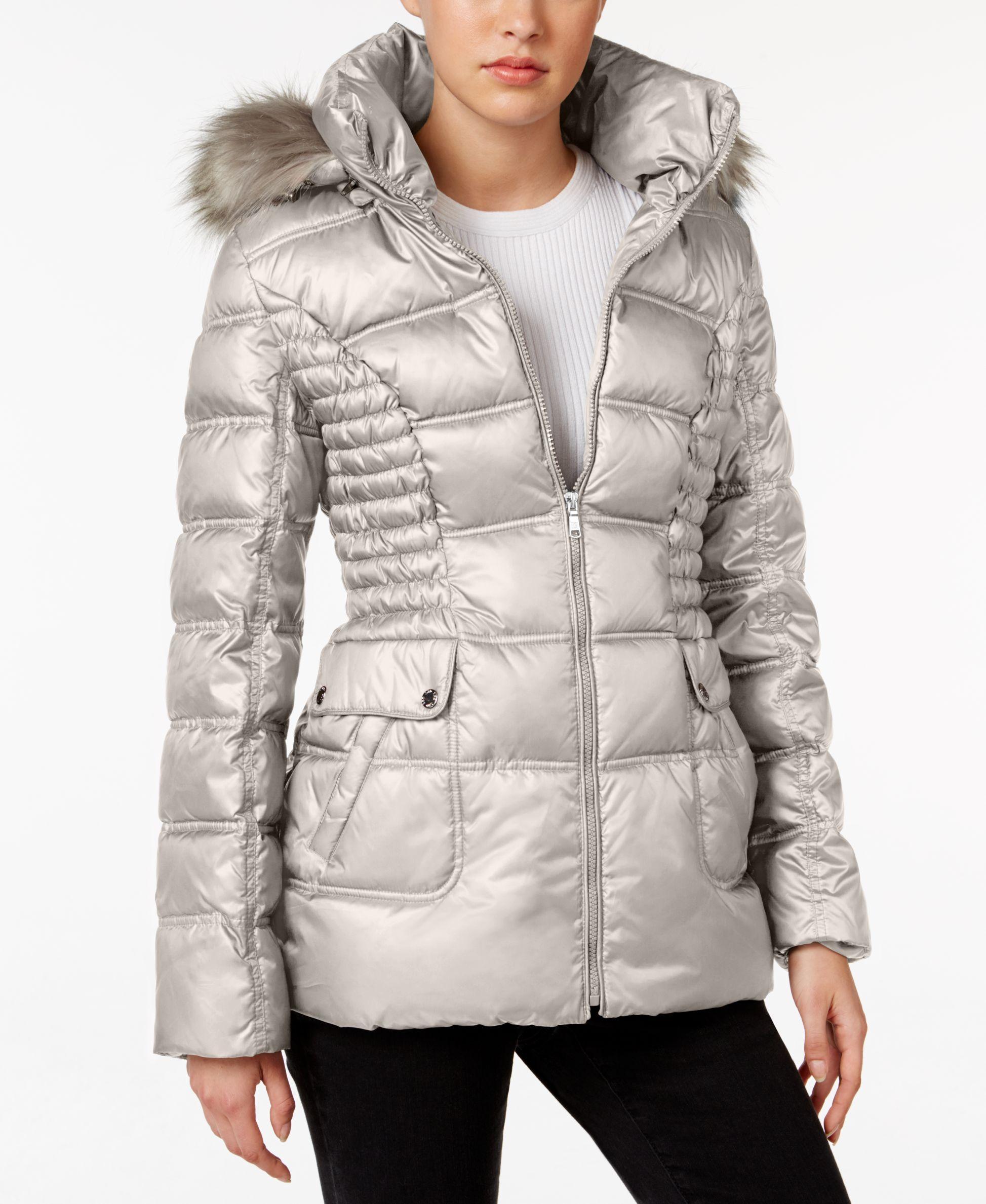 Laundry By Design Faux Fur Trim Quilted Puffer Coat Verhnyaya Odezhda Dlya Zhenshin Puhoviki Kurtka