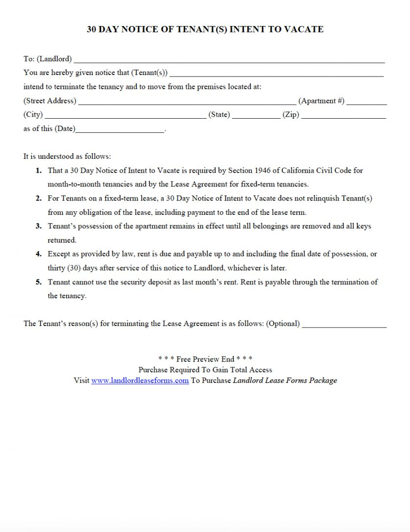 Browse Our Example Of Notice Of Intention To Vacate Template Being A Landlord Move Out Notice Letter Templates