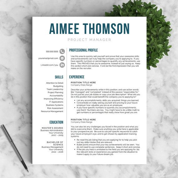 Modern Resume Template for Word THE AIMEE ✓ Instant Download
