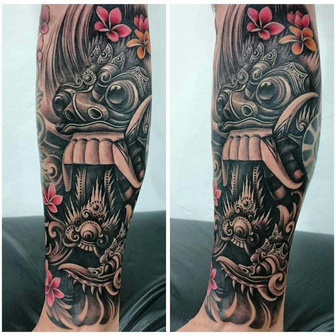 Rangda Mask Tattoo Tato Lengan Ide Tato Desain Tato