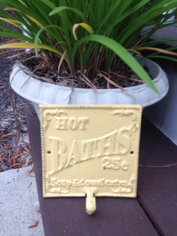 Cast Iron Wall Decor / HOt BATHs Sign / Cast Iron Bath Sign by ...