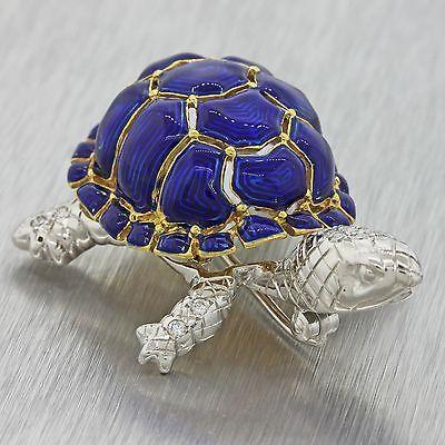 Vintage-Retro-Estate-18k-G-VS1-Diamante-Oro-Amarillo-Azul-Esmalte-Tortuga-Broche-Pin