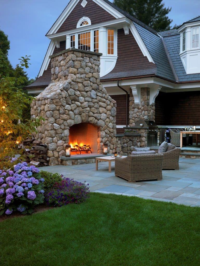 Garden fire features  Fieldstone Fireplace and Bluestone Terrace  The MacDowell Company