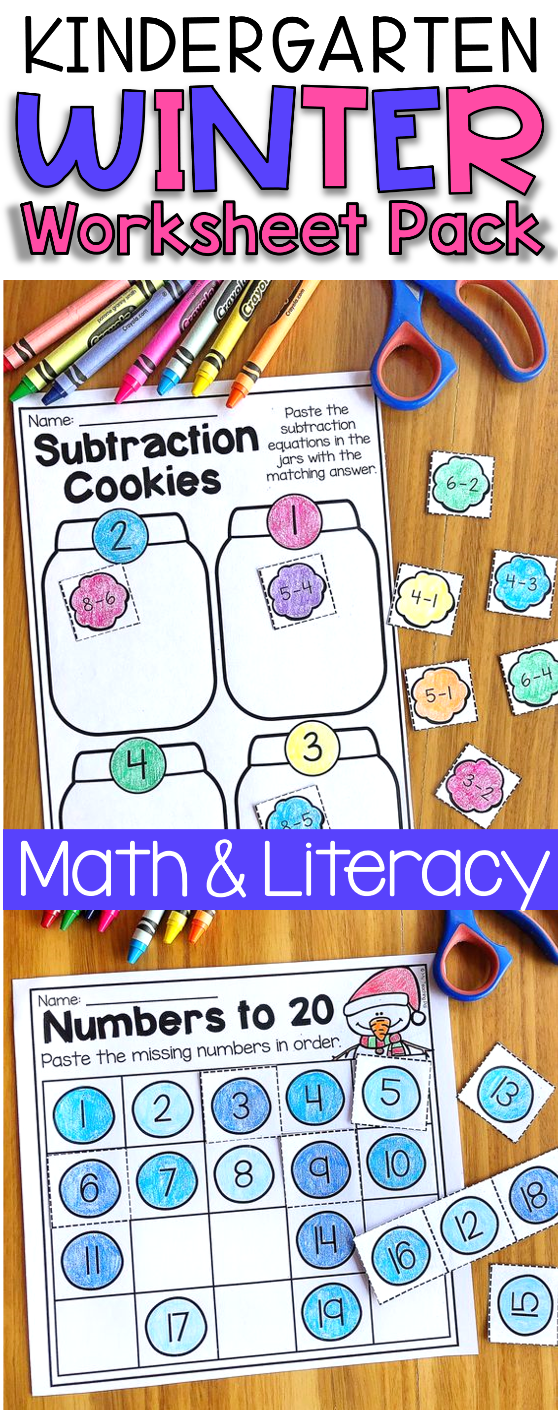 Winter Kindergarten Math And Literacy Worksheet Pack