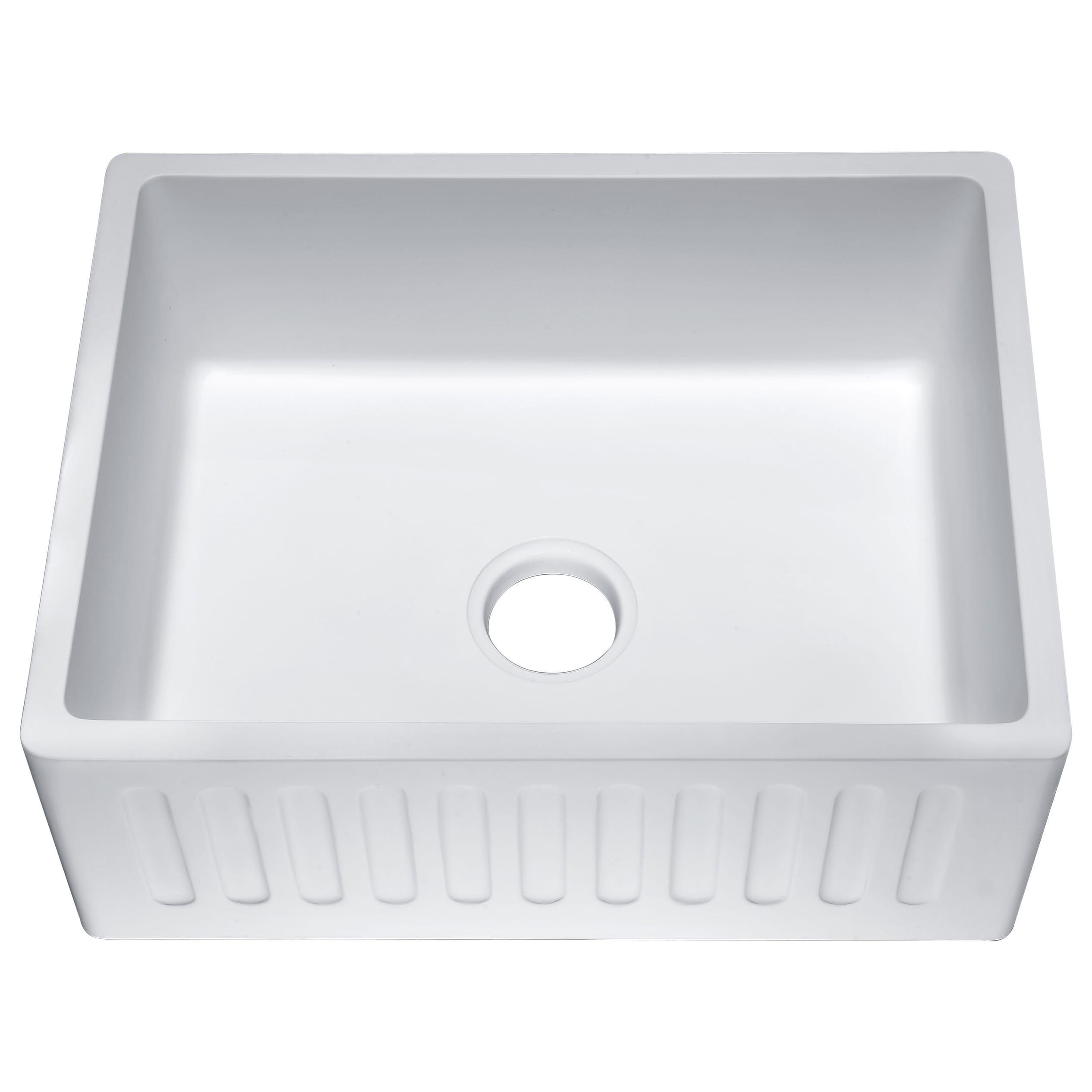 Anzzi Roine Farmhouse Apron Front Man Made Stone 24 In 0 Hole Single Bowl Kitchen Sink In Matte White Products Single Bowl Kitchen Sink Farmhouse Sink Ki