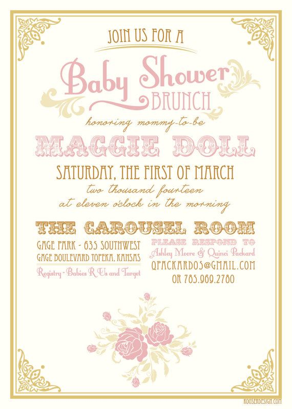 Vintage Baby Shower Invitation Invitations Baby showers and Vintage