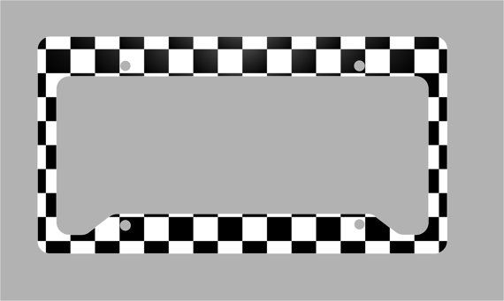 Black And White Checkered License Plate Frame By Mobileexpressions