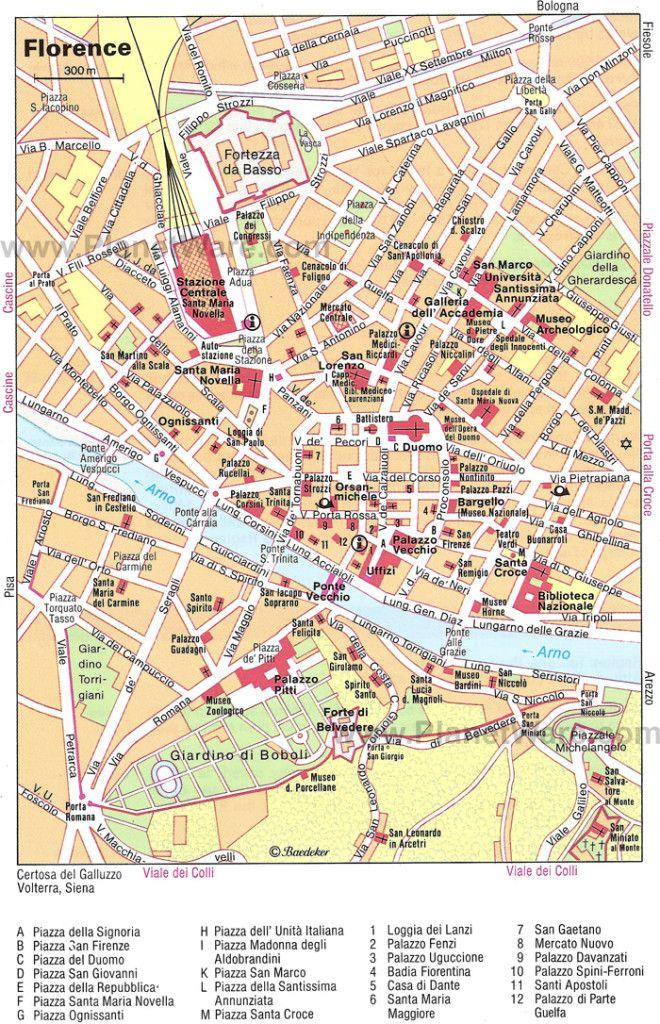 Florenca A Pe Mapa Turistico