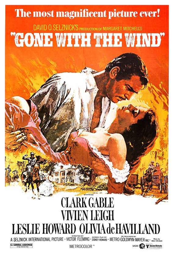 Gone With The Wind - Classic Movie Romance Poster Print - 13x19 - Vintage Movie Poster - Clark Gable Vivien Leigh