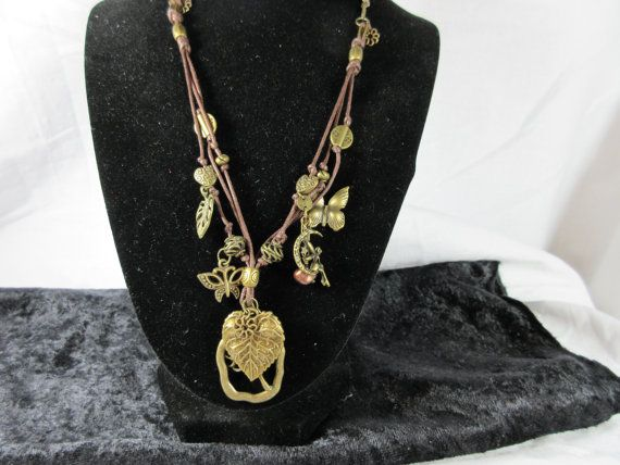 Necklace/ Whimsical Fairy/ Brown Cord/ by RaeLeasMenageriesLLC