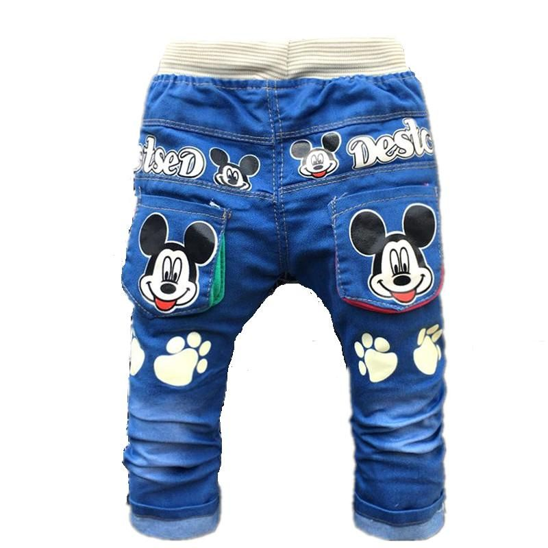 b377c32bd0 2017 New Cartoon Printed Baby Boys Denim Pants Elastic Waist Casual ...