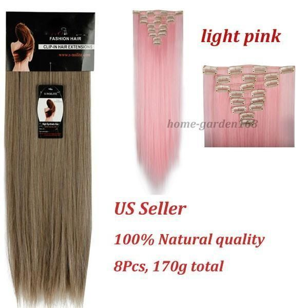 8pcsset 24 60cm Straight Full Head Clip In On Hair Extensions