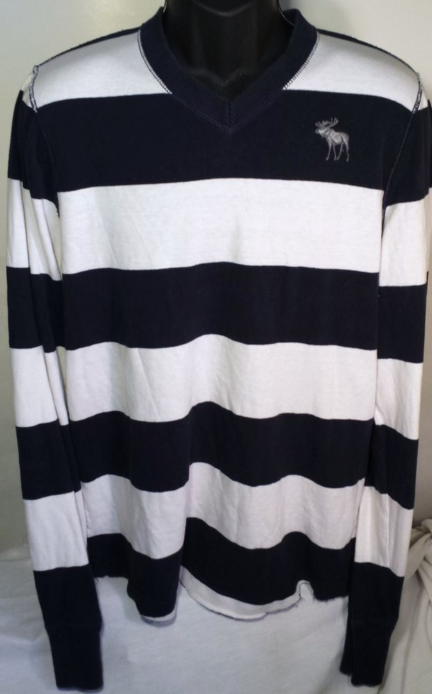 Abercrombie & Fitch Mens Size 2XL V-Neck Striped Sweater #AbercrombieFitch #VNeck