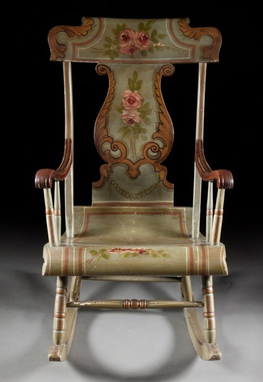Antique American Painted Wood Rocking Chair second half-19th century ~  antiques.alexcooper - Antique American Painted Wood Rocking Chair Second Half-19th Century