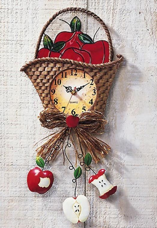 ... Decoration Wall Country Apple Basket Kitchen Wall Clock ...