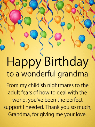 To My Perfect Supporter Happy Birthday Card For Grandmother No