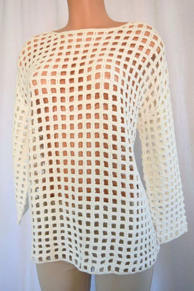 Details about AKRIS OFF WHITE CROCHET CREW NECK TUNIC TOP SIZE 38 #crochetsweaterpatternwomen