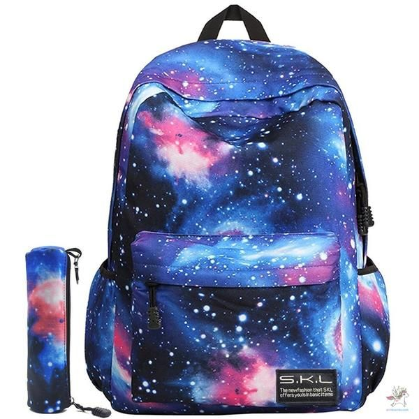 mochila e estojo galaxia tumblr