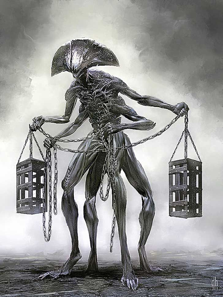 12 Signos Del Zodiaco Renacen Como Aterradores Monstruos Por Damon Hellandbrand Dibujos Espeluznantes Arte De Criaturas Miticas Fotografia De Arte Oscuro