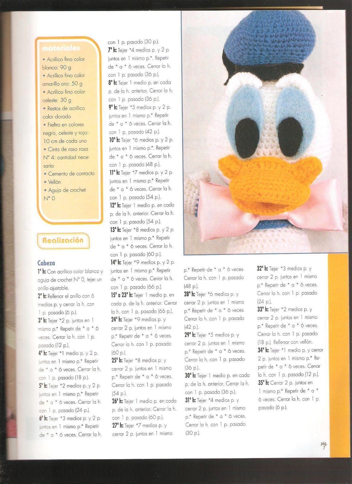 Paperino disney donald duck amigurumi 1 - magiedifilo.it punto croce ...