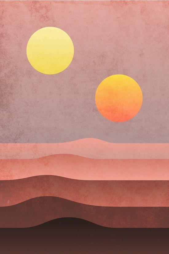 Tatooine Sunset Art Print By Dennisthebadger Society6 Star Wars Art Painting Star Wars Wallpaper Sunset Art