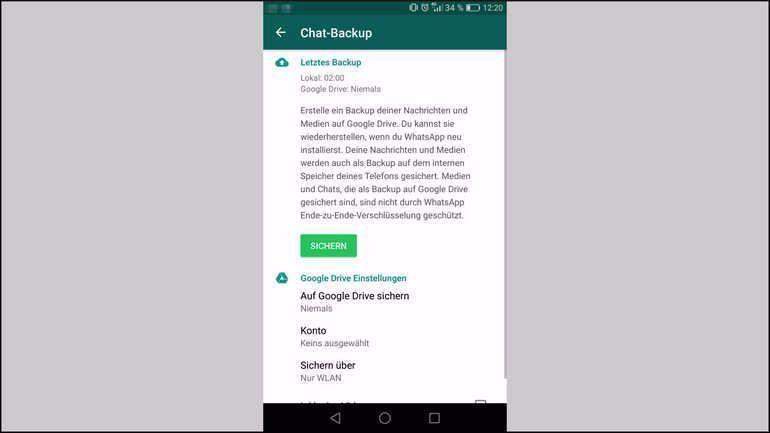 Geloschte Whatsapp Bilder Und Nachrichten Wiederherstellen So Sieht Das Chat Backup Menu Von Whatsapp Auf Einem Android Smartphone Aus In 2020 Life Health Pie Chart