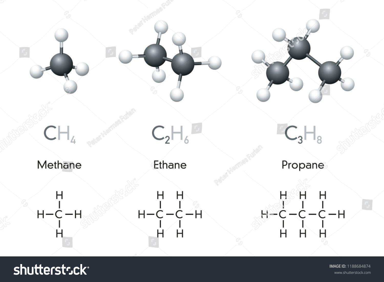 Methane Ethane Propane Molecule Models And Chemical
