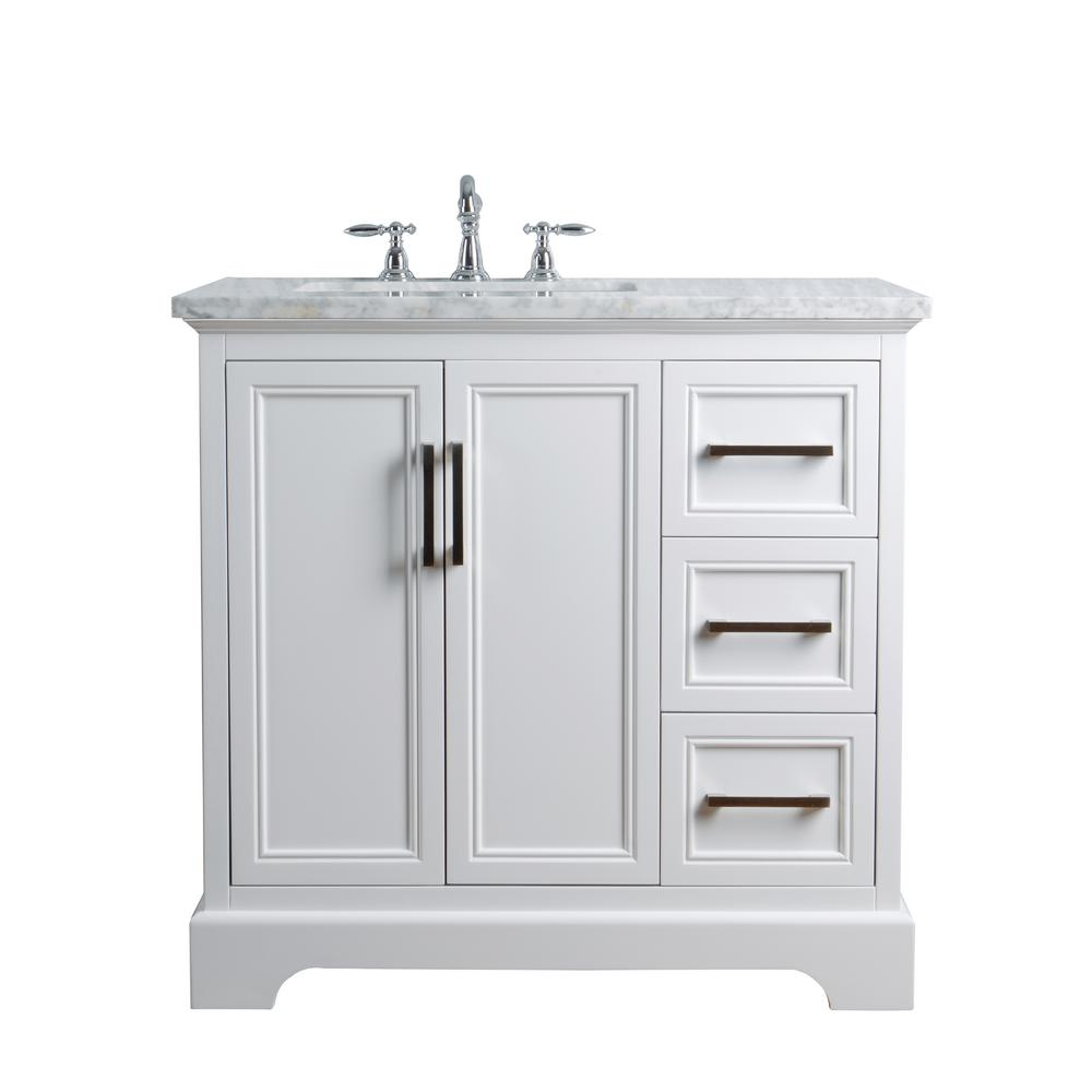 Stufurhome 36 In Ariane Single Sink Vanity In White With Marble