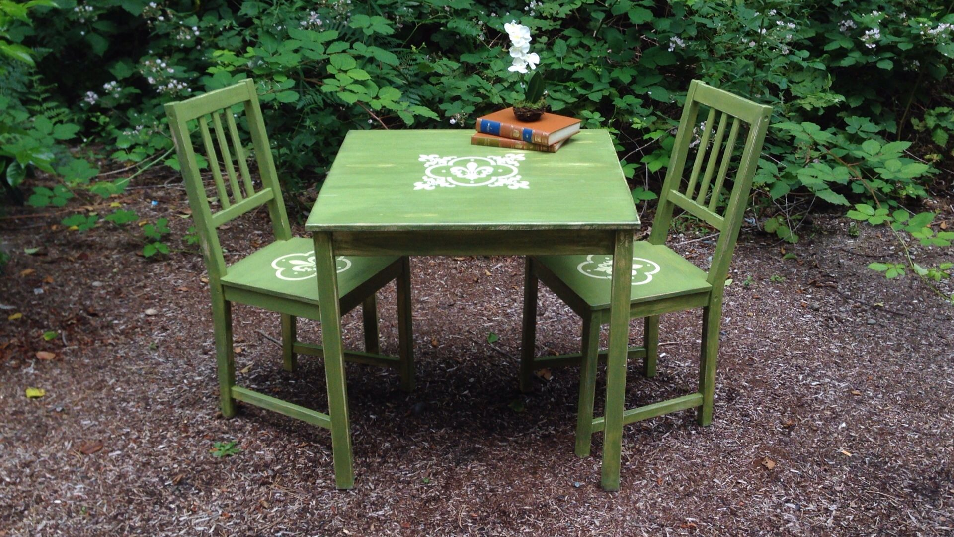 Rustic Green Table And Chairs Painted With New Life