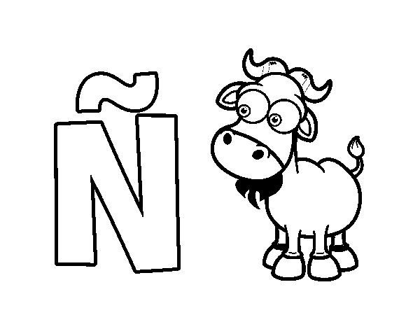 Dibujo del Abecedario Letra Ñ para colorear Abecedario Alfabeto para imprimir Abecedario