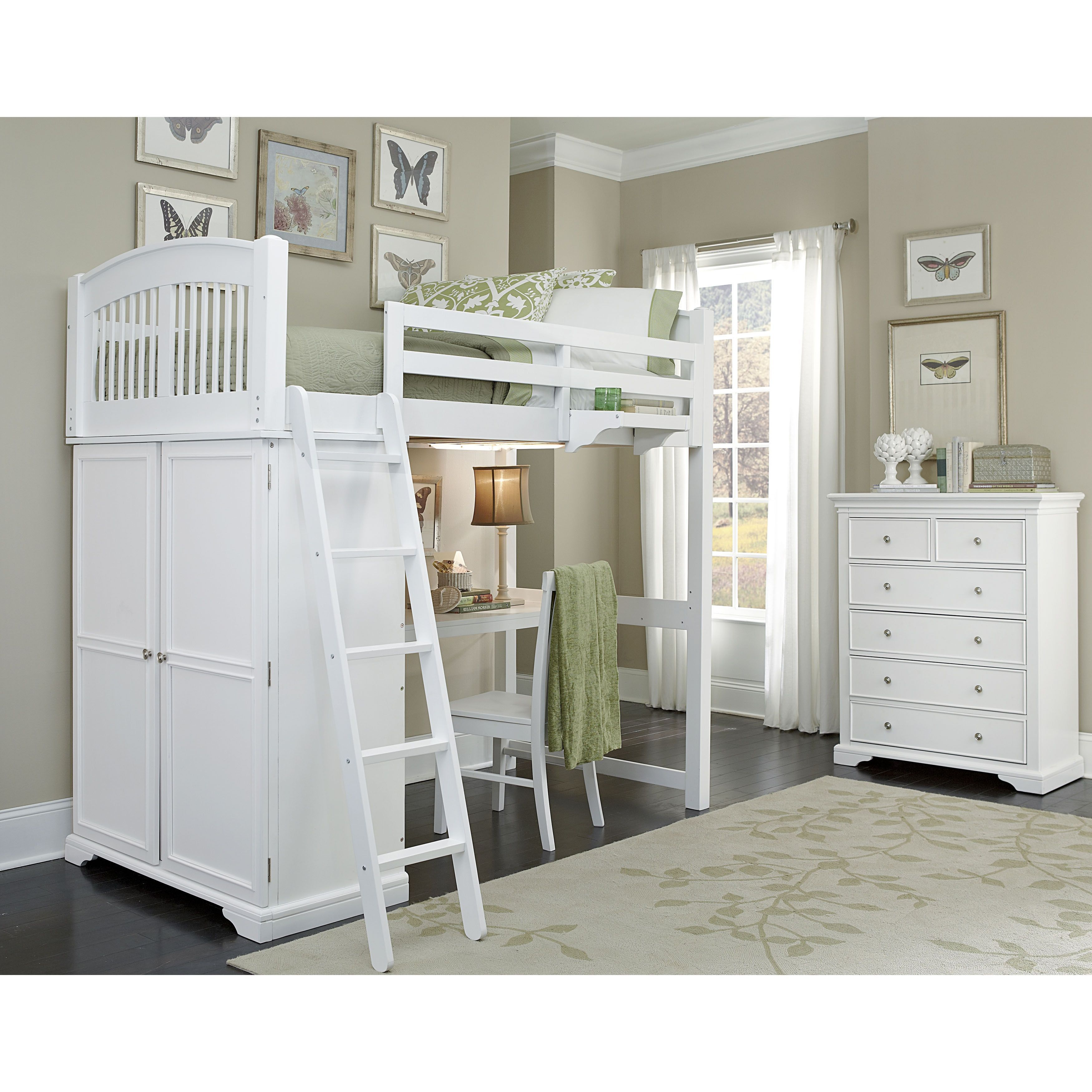 Ne Kids Walnut Street White Wood Locker Loft Bed Storage And Desk
