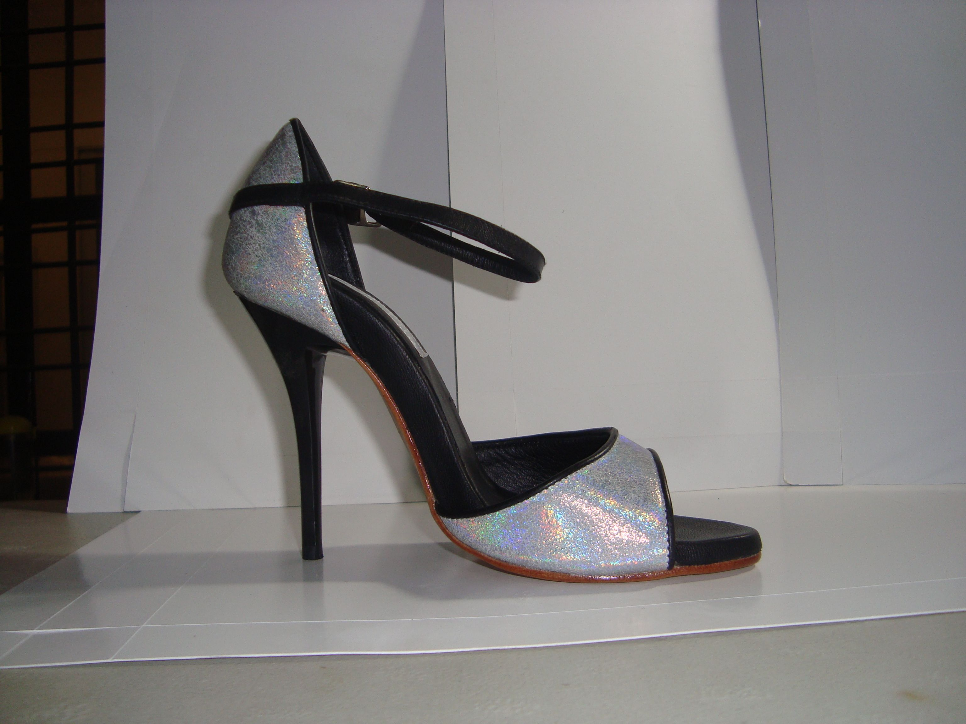 Holographic silver tango shoe also available with smaller