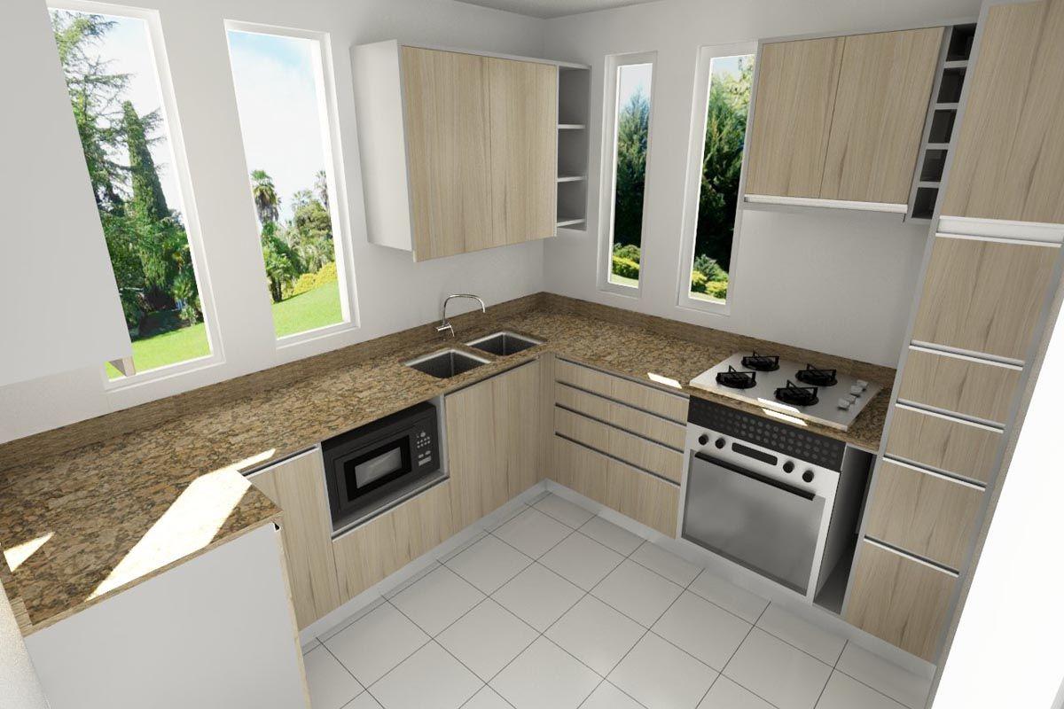 Cocina peque a con cubierta granito y puertas laminadas en for Cocinas pequenas en madera