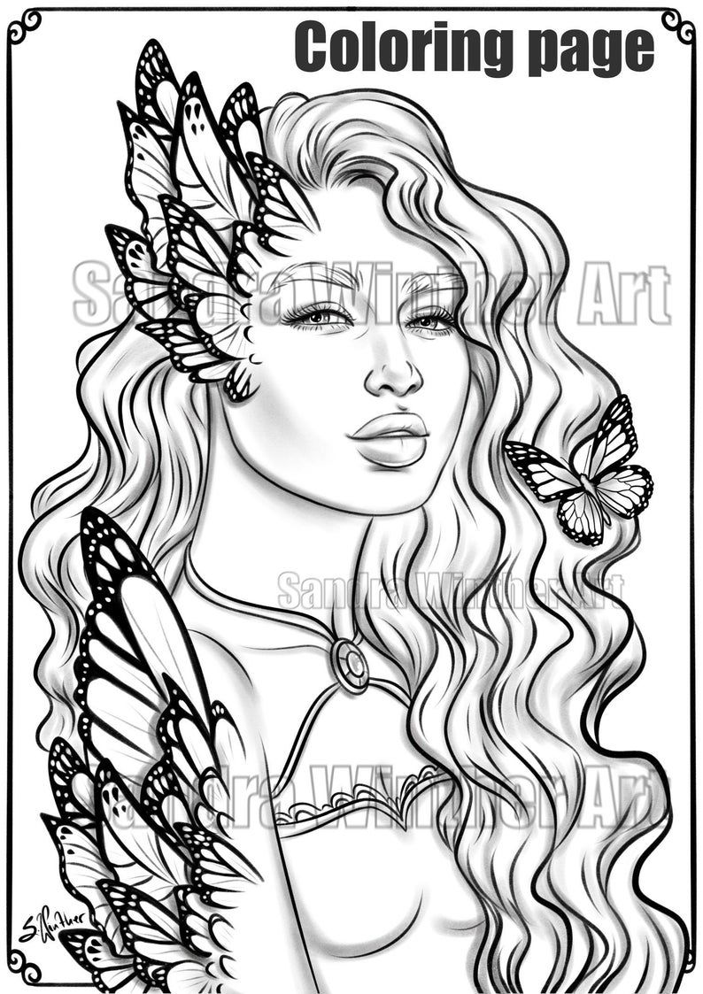 Butterfly Reaction Instant Download Coloring Page in