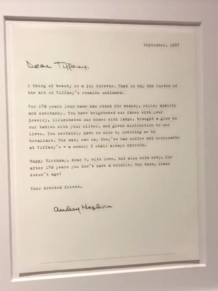 Letter From Audrey Hepburn To Tiffany On Display At Tiffany  Co