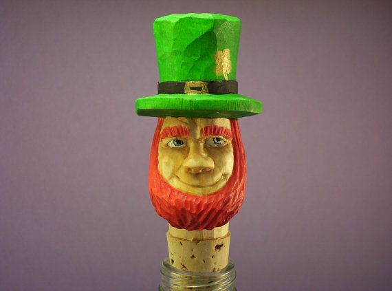 Wood carving OOAK Irish Leprechaun bottle by OldBearWoodcarving, $20.00
