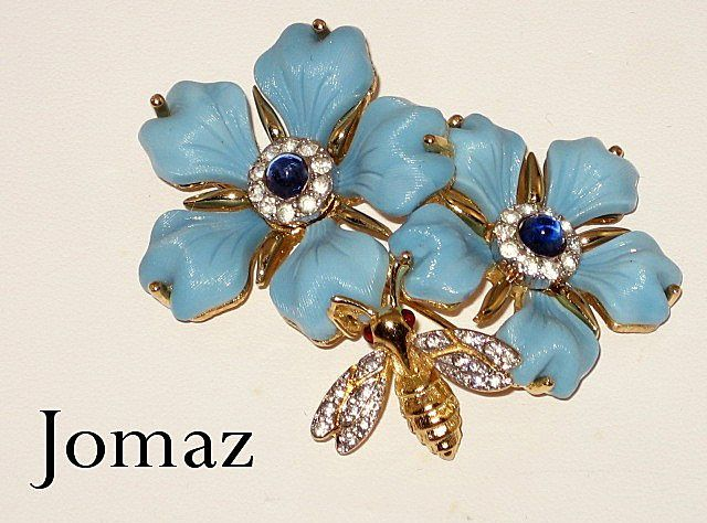 SOLD.. Vintage 1960's Jomaz Flower Brooch with Bumble Bee